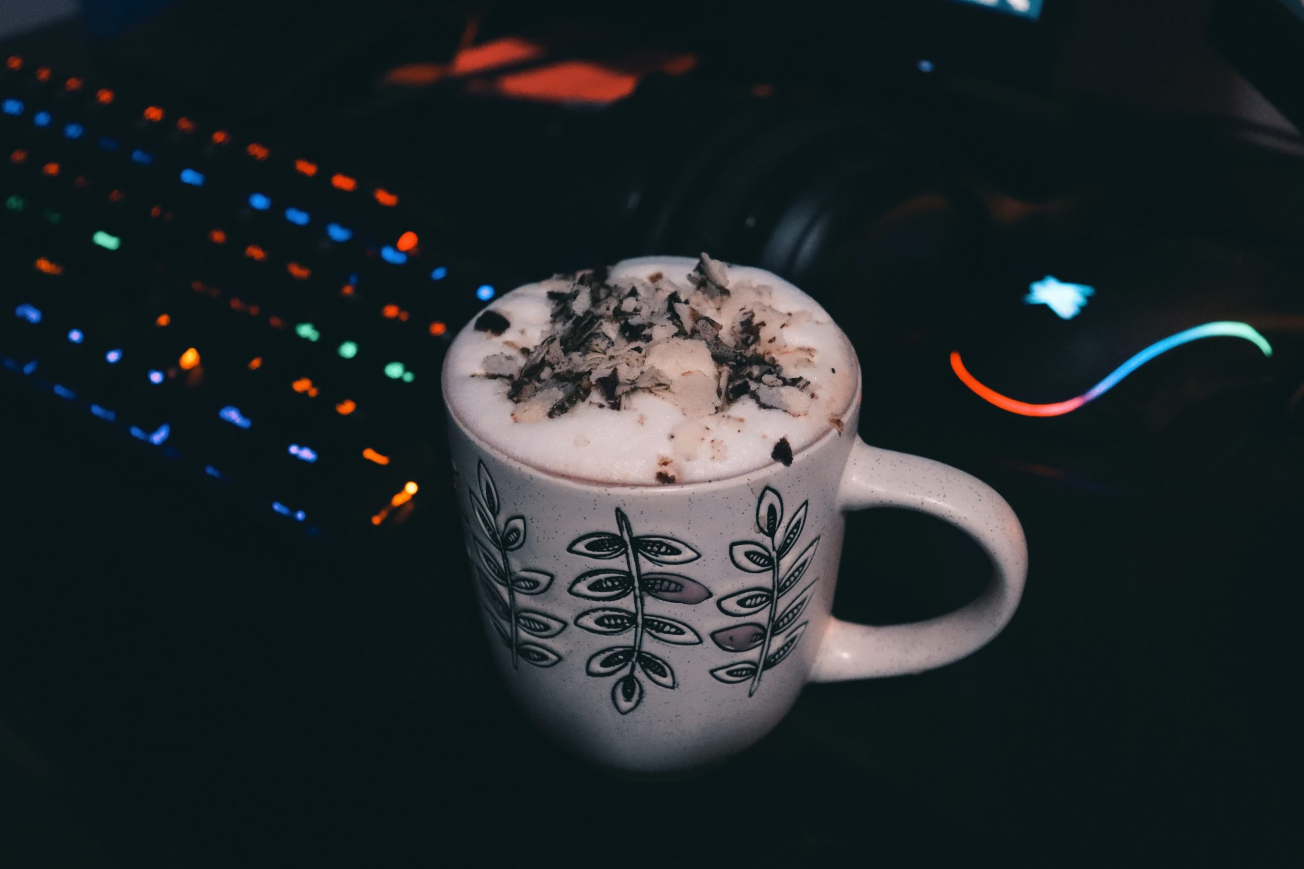 Coffee on a gaming set up computer