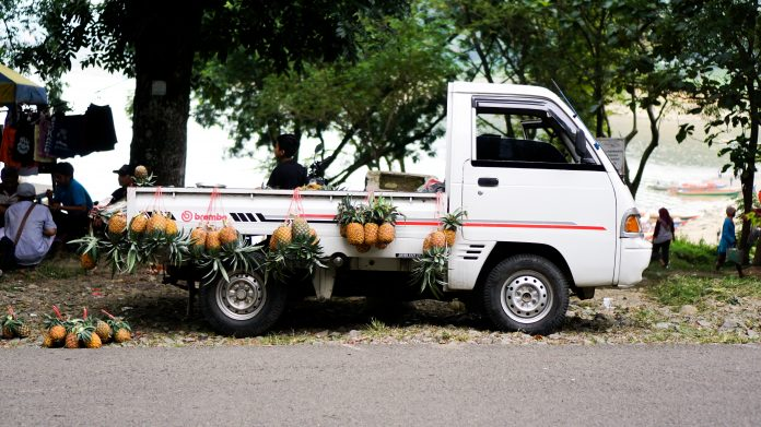 In Indonesia, it is quite common for people to sell fruit on  on the side of the road using pickup like this.