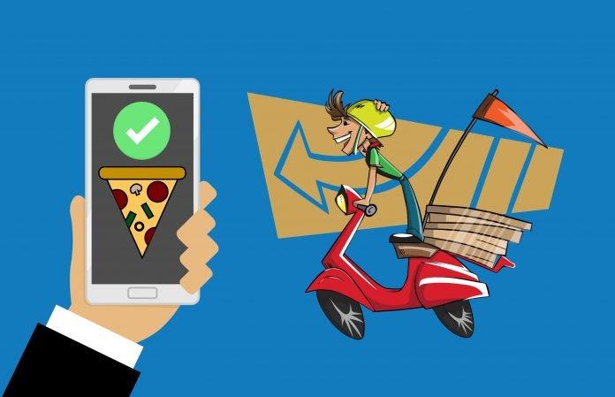 pizza, delivery, bike