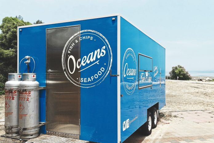 Seafood trailer with the ocean view