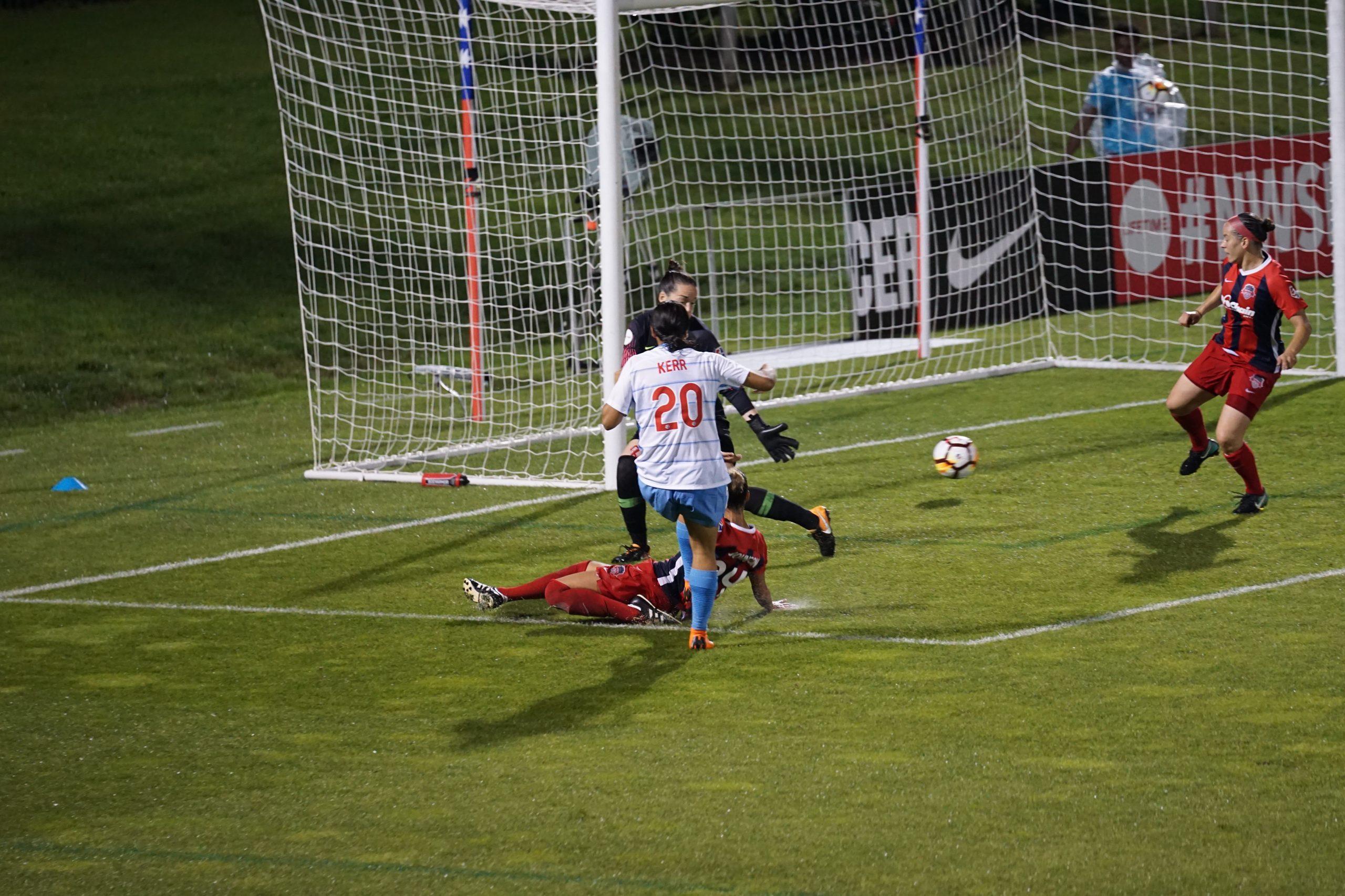 Sam Kerr scores a goal